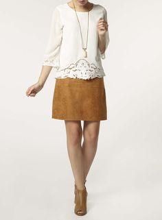 Tan Suedette Pocket Midi Skirt - Dorothy Perkins