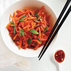Some like cooked carrots, while others prefer them grated to make a crunchy salad. You can do either with this recipe--just toss steamed carrot coins Spicy Carrots, Cooked Carrots, Carrot Recipes, Vegetable Recipes, Healthy Recipes, Healthy Salads, Healthy Options, Healthy Foods, Salads