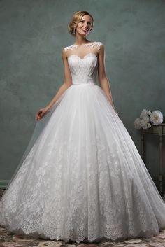 Romantic Tulle Lace Princess 2016 Wedding Dress Illusion Cap Sleeve High  Quality Wedding  amp  Evening Prom 5f373a2520ec