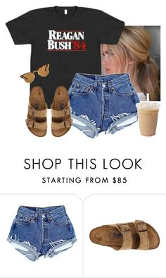 """""""Idk if this is cute or not"""" by aweaver-2 on Polyvore featuring Birkenstock and Ray-Ban"""