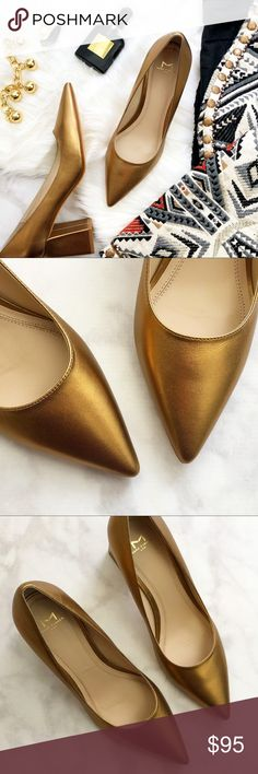 """Dark Gold Leather Pointed Toe Block Heel Pumps Details: * Size 8.5 * True to size; if between sizes, size up * Dark gold leather upper * Leather sole * Pointed toe * 3"""" block heel * New in box; last photo shows same style in different color Marc Fisher Shoes Heels"""