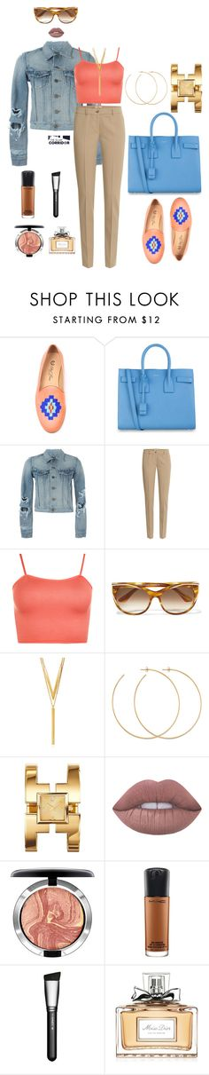 """Blue sherbet"" by theglamcorridor ❤ liked on Polyvore featuring Del Toro, Yves Saint Laurent, Michael Kors, WearAll, Thierry Lasry, BERRICLE, Allison Bryan, Tory Burch, Lime Crime and MAC Cosmetics"