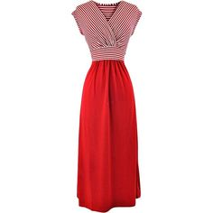 Red & White Striped Tie Back High Waist Maxi Dress ($25) ❤ liked on Polyvore featuring dresses, red, long maxi dresses, maxi dresses, striped maxi dress, jersey dress and long dresses