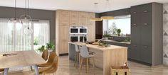 Une cuisine partage  La cuisine équipée ROMA est un modèle qui permet à toutes la famille de se rassembler autour du grand îlot aux meubles de rangement généreux.