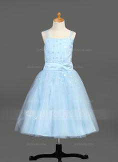 Flower Girl Dresses - $97.49 - A-Line/Princess Tea-Length Satin Tulle Flower Girl Dress With Ruffle Sequins (010005913) http://jjshouse.com/A-Line-Princess-Tea-Length-Satin-Tulle-Flower-Girl-Dress-With-Ruffle-Sequins-010005913-g5913