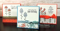 Stampin' Up! Flowering Fields notecards with Wink of Stella coloring technique…