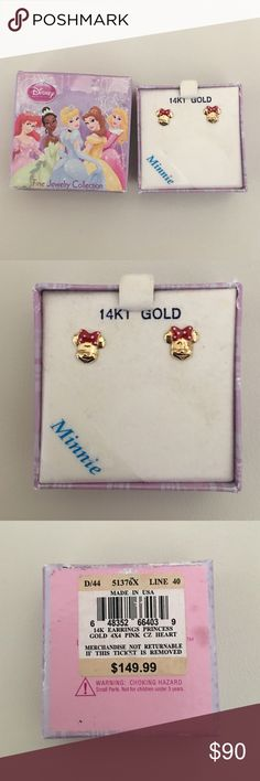 🎉HP🎉14K gold Minnie Mouse earrings Brand new in box 14K gold Minnie Mouse earrings. Perfect for graduation gift. From Macy's. That's a original box it's confusing on the back of the box but 4th picture says exactly what I have. Macy's Accessories Jewelry