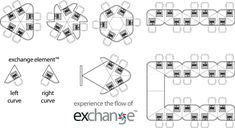 exchange by SMARTdesks plan views of modular collaboration table elements for multi-shape collaboration table configurations