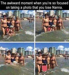 a the awkward moment when you're so focused on taking a good picture that you lose Nanna