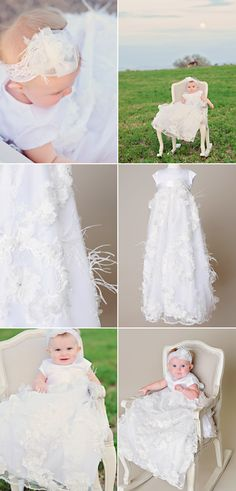 Our Fancy Christening Gown lives up to her name with eccentric feather accents on an exaggerated organza skirt. This gown is absolutely stunning! set includes baptism gown, slip and he… Christening Gowns For Girls, Baptism Gown, Rosette Headband, Polyester Satin, White Fabrics, Absolutely Stunning, Feathers, One Shoulder Wedding Dress, Bodice