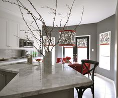 Love the clean modern look!   Suzie: Meredith Heron Design - Gray & red kitchen design with charcoal gray walls paint color, ...