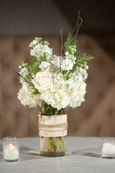 Simple table centerpiece-maybe add some votives?