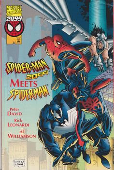 Spider-Man 2099 Meets Spider-Man Peter Parker and Miguel O'Hara are thrust into each other's time streams! How will Spidey 2099 fare in modern day New York? Peter faces Vulture 2099 in Nueva York…while Miguel takes on Eddie Brock's Venom! Marvel 2099, Marvel Dc Comics, Dragon Ball, Eddie Brock Venom, Steve Ditko, Spiderman Art, Marvel Comic Books, Spider Verse, American Comics