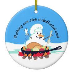 Melting snowman chef turkey Christmas ornament - humor funny fun humour humorous gift idea