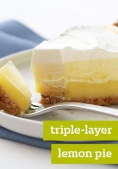 TRIPLE LAYER LEMON PIE Three layers—fluffy, creamy and cool—come together to make this perfect no-bake pie. What You Need Lemon Flavour Instant Pudding 2 cups cold milk 1 Tbsp. lemon juice 1 r (Cool Desserts Pudding Pies) Dessert Dips, Pie Dessert, Dessert Recipes, Lemon Desserts, Köstliche Desserts, Delicious Desserts, Yummy Food, Passover Desserts, Lemon Pie Recipe
