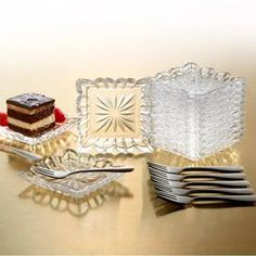 Add an eye-catching touch of style to your next soiree with this chic design, perfect for charming weekend brunches and afternoon luncheons alike.   Product: 12 Plates, 12 forks, and a recipe cardConstruction Material: Metal and crystalColor: Clear  Dimensions: 4 H x 4 W each (plate)    Cleaning and Care: Hand wash