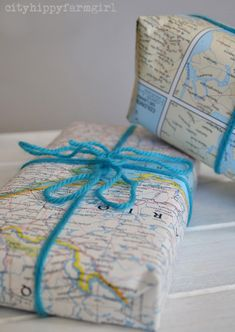 map wrapping- top 10 eco friendly gift wrapping ideas-