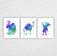 Monsters Inc Art Print Instant download, Watercolor silhouette, Room Playroom Decor Art, Set 3-8x10