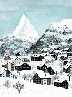 There's something about Becca Stadtlander's illustrations that seems to fit in so nicely with the holidays. Perhaps it's the nostalgic folk art influence. Or the fact that each work brings me to the most comfortable and warm place… Art And Illustration, Illustrations Posters, Mountain Illustration, Grandma Moses, Art Populaire, Naive Art, Winter Art, Winter Landscape, Art Design
