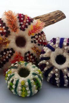 Sea Urchin Shell, Wet Felting, Book Art, Crochet Earrings, Shells, Range, Stitch, Inspired, Artwork