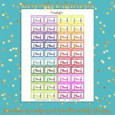 DIY Rainbow Grandparent Time 40 Printable Planner Stickers pdf Erin Condren Kate Spade Kikkik Filofax Mambi