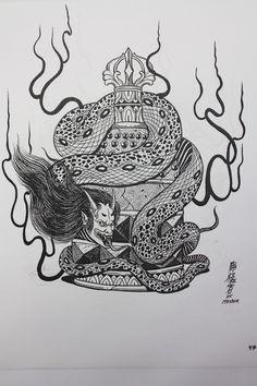 19027D354CA4D2840597F8 (764×1146) Japanese Drawings, Japanese Tattoo Art, Japanese Yokai, Snake Girl, Devil Tattoo, Japan Illustration, Japanese Folklore, Traditional Japanese Tattoos, Asian Tattoos