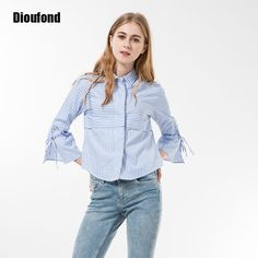Dioufond Women Stripe Blouses For Summer Three Quarter Flare Sleeve Shirt Women Bow Cute Blouse Girl Blusas Femininas 2017
