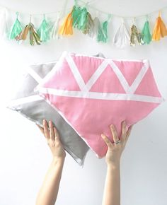 DIY Pillows and Creative Pillow Projects - DIY Diamond Pillow - Decorative Cases and Covers, Throw Pillows, Cute and Easy Tutorials for Making Crafty Home Decor - Sewing Tutorials and No Sew Ideas