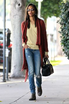 zoe saldana style | Zoe Saldana on the street in Hollywood - celebrity fashion (Glamour ...