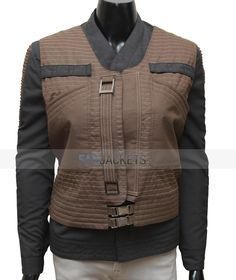 """The new stylish Jyn Erso brown Cotton vest for woman inspired from the movie Star Wars """"Rogue One"""". Shop now from Fanjackets.com."""