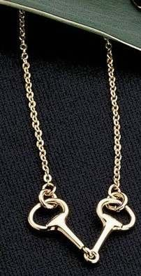Horse Themed Necklaces-Exselle Gold Plated Snaffle Bit Necklace