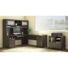 Add style and functionality to your home or office with this Achieve L Desk and Hutch. In a sweet cherry or warm oak finish, this desk is a fashionable, practical work center.