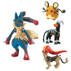 Pokemon XY 4 Figure Gift Pack - Mega Lucario, Pyroar, Dedenne & Houndoom