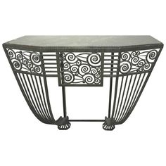 Art Deco Wrought Iron Wall Console with Marble Top | From a unique collection of antique and modern console tables at https://www.1stdibs.com/furniture/tables/console-tables/
