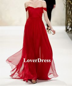 Red Prom Dress Amazing Chiffon Strapless Sweetheart by LoverDress