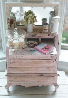 Miniature Shabby Chic Pink Buffet. $110.00, via Etsy.