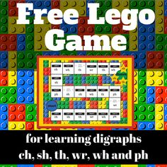 Free LEGO Game for Learning Digraphs from Lego Activities, Lego Games, Grammar Activities, Lego Lego, Maths, Learning Phonics, Learning Letters, Too Cool For School, School Fun