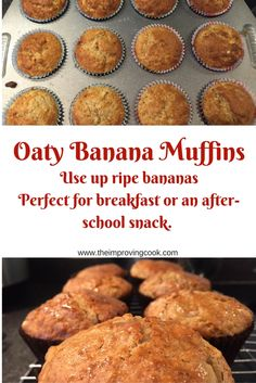The Improving Cook- Oaty Banana Muffins. Use up ripe bananas to make these breakfast banana and oat muffins. They have lower sugar than most muffin recipes, so they are perfect for an after-school snack for children too. Uk Recipes, Banana Recipes, Baby Food Recipes, Snack Recipes, Cooking Recipes, Muffin Recipes, Breakfast Recipes, Recipies, Food Baby
