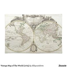 Vintage Map of The World (1775) Placemat