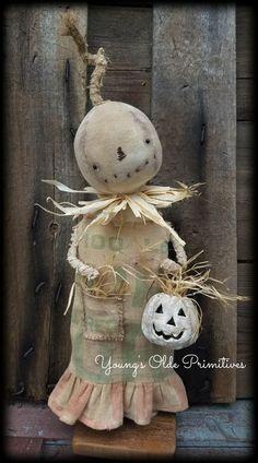 ~Primitive Standing Feedsack Pumpkin Girl Doll~Fall~Halloween~JOL | Antiques, Primitives | eBay!
