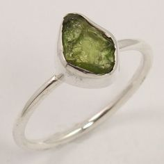 925 Sterling Silver Natural GREEN TOURMALINE Gemstone Glorious Ring Size US 5.75 #Unbranded