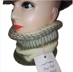 RETRO olive green and cream colour mix Handmade scarf cowl double knit extra thick ski snowboard garden one size unisex wool      Many colours available        ALL ITEMS HANDMADE BY LITTLE OLD ME :D  Can be made to order with same day dispatch  Feel free to message me anytime | Shop this product here: spree.to/bmby | Shop all of our products at http://spreesy.com/NaturalTherapyPacks    | Pinterest selling powered by Spreesy.com