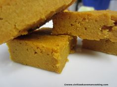 Pumpkin Coconut Squares  1 Can Organic Pumpkin, 14 ounces  1/2 Cup Coconut Flour  1/4 Cup of sweetener of your choice, I used organic honey  3 Eggs  2 Tbsp Coconut Cream concentrate dissolved in 1/4 Cup Water  2 Tbsp Ghee, melted  2 Tbsp Coconut Oil, melted  1 Tbsp Cinnamon  1 Tbsp Allspice  1 Tsp Ground Cloves  1 Tsp Baking powder