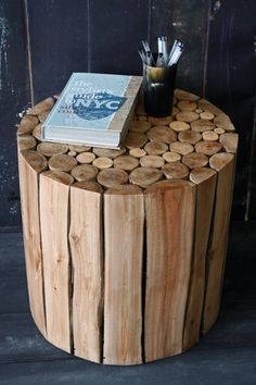 Wooden Branch Side Table Stool