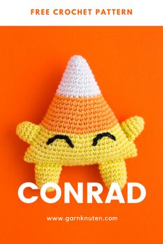 Amigurumi halloween candy corn | Free crochet pattern | Garnknuten | Learn how to make this super cute candy corn toy Conrad. Easy to make and perfect for halloween! Make it now or save it for later! #amigurumi #crochet #pattern #halloween #toy