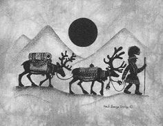 Some kind of Sami symbol (maybe a reindeer?) would be awesome. Lappland, Scandinavian Folk Art, Winter Art, Ink Art, Arm Band Tattoo, Painting & Drawing, Reindeer, Norway, Art Drawings