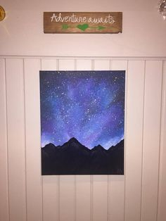 Sunset mountain acrylic painting on canvas. Available in my Etsy shop! Simple Canvas Paintings, Easy Canvas Art, Small Canvas Art, Easy Canvas Painting, Mini Canvas Art, Acrylic Canvas, Night Sky Painting, Galaxy Painting, Sunset Painting Easy