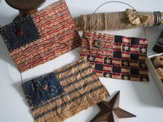 AMERICANA Flag Set  Primitive  Folk Art by BlueRidgeMercantile, $14.00