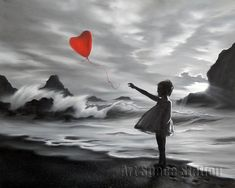 One Red Balloon Abstract Oil Painting Hand Painted on Canvas,Girl Hold a Balloon Black and White Wall Pictures for Bedroom Deco Balloon Painting, Oil Painting Abstract, How To Draw Balloons, Godard Art, Blue Butterfly Wallpaper, Creation Photo, Hippie Wallpaper, Magic Realism, Black And White Painting