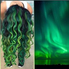 Taking her inspiration from the Aurora Borealis Northern Lights, Tiffany Eeckhoute creates a thrilling multi-hued green hair color design! hotonbeauty.com